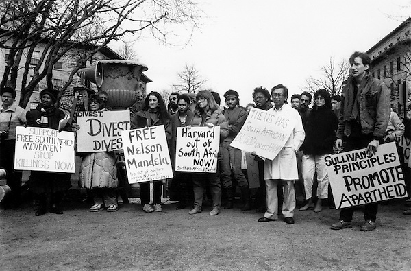 Anti Apartheid demonstrators call for Harvard to Divest investments in South Africa. at Harvard Medical School  March 14, 1985.