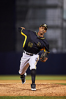 Bradenton Marauders relief pitcher Yunior Montero (45) delivers a pitch during a game against the Tampa Yankees on April 15, 2017 at George M. Steinbrenner Field in Tampa, Florida.  Tampa defeated Bradenton 3-2.  (Mike Janes/Four Seam Images)