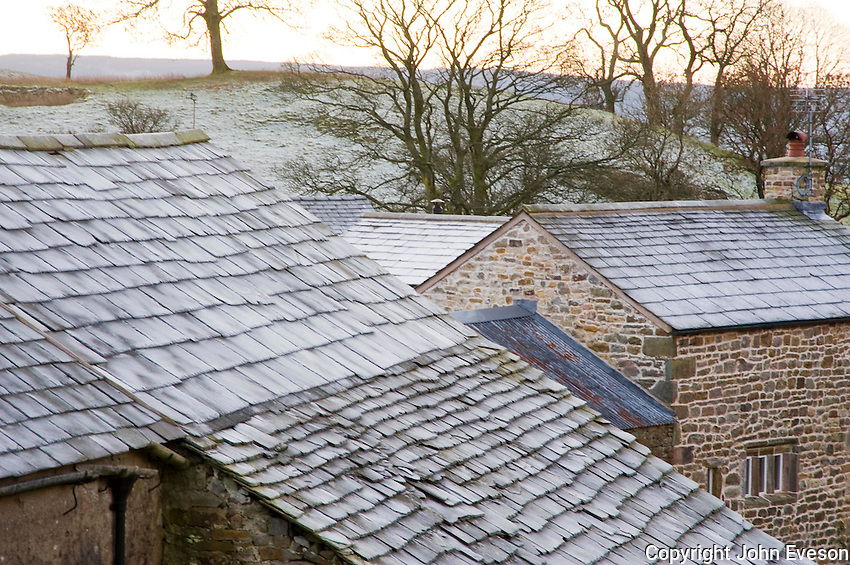 Frost on farm slate roofs,