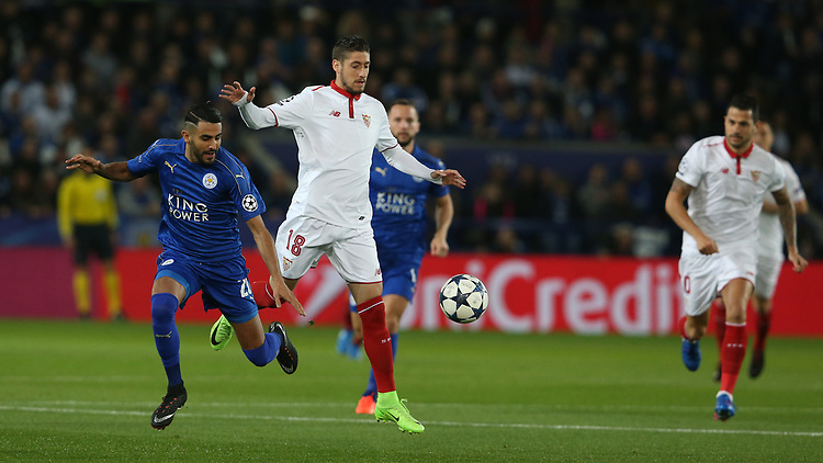 Leicester City's Riyad Mahrez and Sevilla's Sergio Escudero<br /> <br /> Photographer Stephen White/CameraSport<br /> <br /> UEFA Champions League Round of 16 Second Leg - Leicester City v Sevilla - Tuesday 14th March 2017 - King Power Stadium - Leicester <br />  <br /> World Copyright &copy; 2017 CameraSport. All rights reserved. 43 Linden Ave. Countesthorpe. Leicester. England. LE8 5PG - Tel: +44 (0) 116 277 4147 - admin@camerasport.com - www.camerasport.com