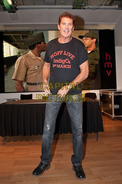 David Hasslehoff signs his new album 'This Time around' at HMV Oxford Street, London, England..February 27th 2012.full length t-shirt black indigo 02 2nd march promotion jeans denim.CAP/HT.©Hugh Thompson/Capital Pictures.