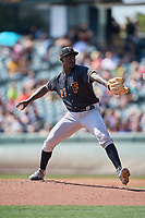 Fresno Grizzlies starting pitcher Akeem Bostick (27) delivers a pitch during a game against the Salt Lake Bees at Smith's Ballpark on September 3, 2018 in Salt Lake City, Utah. The Grizzlies defeated the Bees 7-6. (Stephen Smith/Four Seam Images)