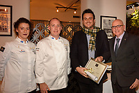 Melbourne, June 26, 2018 - Laura Skvor, Michael Cole, Mark Calabro from Ordermate and Tom Milligan pose for a photograph at a celebration event for Bocuse d'Or Australia team and their sponsors and supporters at Philippe Restaurant in Melbourne, Australia. Photo Sydney Low.