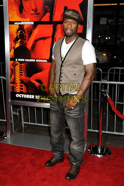 "CURTIS JACKSON (aka. ""50 Cent"").""RED"" Los Angeles Special Screening held at Grauman's Chinese Theatre, Hollywood, California, USA..October 11th, 2010.full length jeans denim waistcoat t-shirt black white beard facial hair brown patches flat cap hat herringbone gold necklace .CAP/ADM/BP.©Byron Purvis/AdMedia/Capital Pictures."