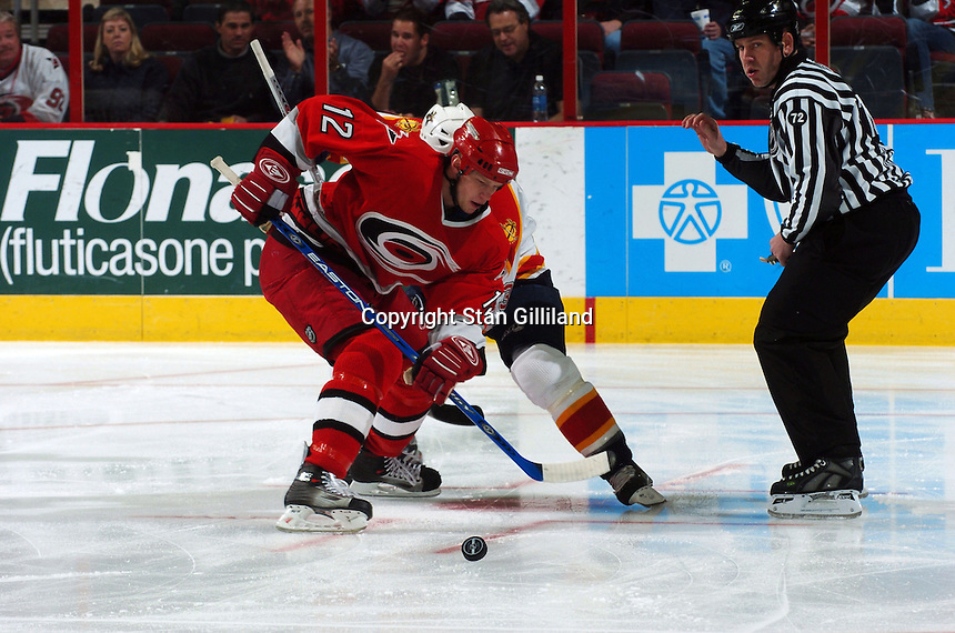Carolina Hurricanes' Eric Staal wins a faceoff with the Florida Panthers at the RBC Center in Raleigh, NC Friday, March 3, 2006. Carolina won 5-2.