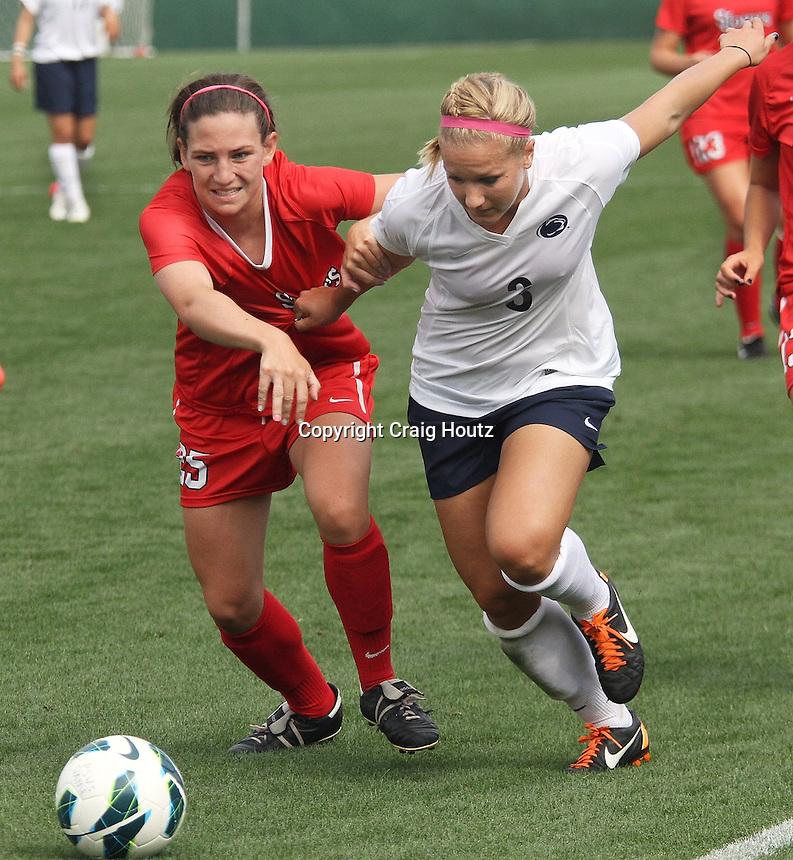 Penn State's Emily Hurd (3) against  St. John's Rachel Hoffman (25) on August 19, 2012. Photo/©2012 Craig Houtz