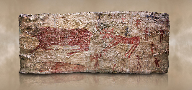 Hunting scene. A deer and wild boar are depicted being hunted with people using bows and arrows. One person is depcted trying to net the boar. 6000 BC,  Catalhoyuk Collections. Museum of Anatolian Civilisations, Ankara