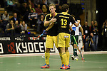 Berlin, Germany, January 31: Michael Koerper #9 of Harvestehuder THC and Tobias Hauke #13 of Harvestehuder THC celebrate after scoring during the 1. Bundesliga Herren Hallensaison 2014/15 semi-final hockey match between Harvestehuder HTC(black/yellow) and HTC Uhlenhorst Muehlheim (white/green) on January 31, 2015 at the Final Four tournament at Max-Schmeling-Halle in Berlin, Germany. Final score 6-3 (2-2). (Photo by Dirk Markgraf / www.265-images.com) *** Local caption ***