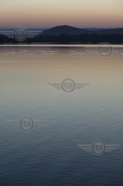 Lake Kariba at dusk. The lake has been artificially created to provide water for the Kariba hydroelectric station..