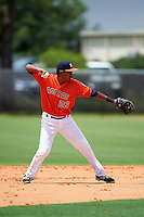 GCL Astros second baseman Jared Cruz (26) throws to first during a game against the GCL Braves on July 23, 2015 at the Osceola County Stadium Complex in Kissimmee, Florida.  GCL Braves defeated GCL Astros 4-2.  (Mike Janes/Four Seam Images)