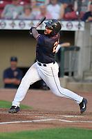 Cedar Rapids Kernels catcher Robert Molina (21) swings at a pitch against the Peoria Chiefs at Veterans Memorial Stadium on June 16, 2018 in Cedar Rapids, Iowa. The Kernels won 12-4.  (Dennis Hubbard/Four Seam Images)