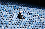 The first Rangers fan through the turnstyles takes his seat in the Govan Stand and admires the view