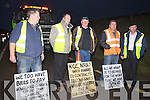 Sub Contractors, early morning road closure protest on the on the Annascaul N86 Road on Tuesday morning .Jimmy O' Dwyer, Camp, Councillor Seamus Coasi Fitzgerald, Michael Greaney, PJ Herlihy Camp and Michael Healy Rae, TD..