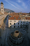Milicevic place with a monumental fountain. View from the remparts. Dubrovnik. Croatia