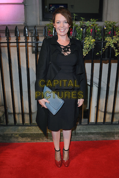 Olivia Colman<br /> The Luminous BFI gala dinner &amp; auction, 8 Northumberland Avenue, London, England.<br /> October 8th, 2013<br /> full length black lace dress jacket coat peplum blue clutch bag<br /> CAP/BEL<br /> &copy;Tom Belcher/Capital Pictures