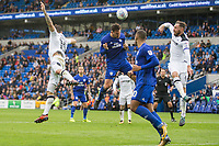 Sean Morrison of Cardiff City heads at goal during the Sky Bet Championship match between Cardiff City and Derby County at Cardiff City Stadium, Cardiff, Wales on 30 September 2017. Photo by Mark  Hawkins / PRiME Media Images.