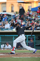 Juremi Profar (7) of the High Desert Mavericks bats against the Lancaster JetHawks at The Hanger on April 16, 2016 in Lancaster, California. Lancaster defeated High Desert, 3-2. (Larry Goren/Four Seam Images)