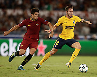 Football Soccer: UEFA Champions League AS Roma vs Atletico Madrid Stadio Olimpico Rome, Italy, September 12, 2017. <br /> Atletico Madrid's Saul Niguez (l) in action with Roma's Diego Perotti (l) during the Uefa Champions League football soccer match between AS Roma and Atletico Madrid at at Rome's Olympic stadium, September 12, 2017.<br /> UPDATE IMAGES PRESS/Isabella Bonotto