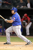 Round Rock Express first baseman Brad Nelson #30 at bat during a game versus the Memphis Redbirds at Autozone Park on April 29, 2011 in Memphis, Tennessee.  Round Rock defeated Memphis by the score of 5-4 in 13 innings.  Photo By Mike Janes/Four Seam Images