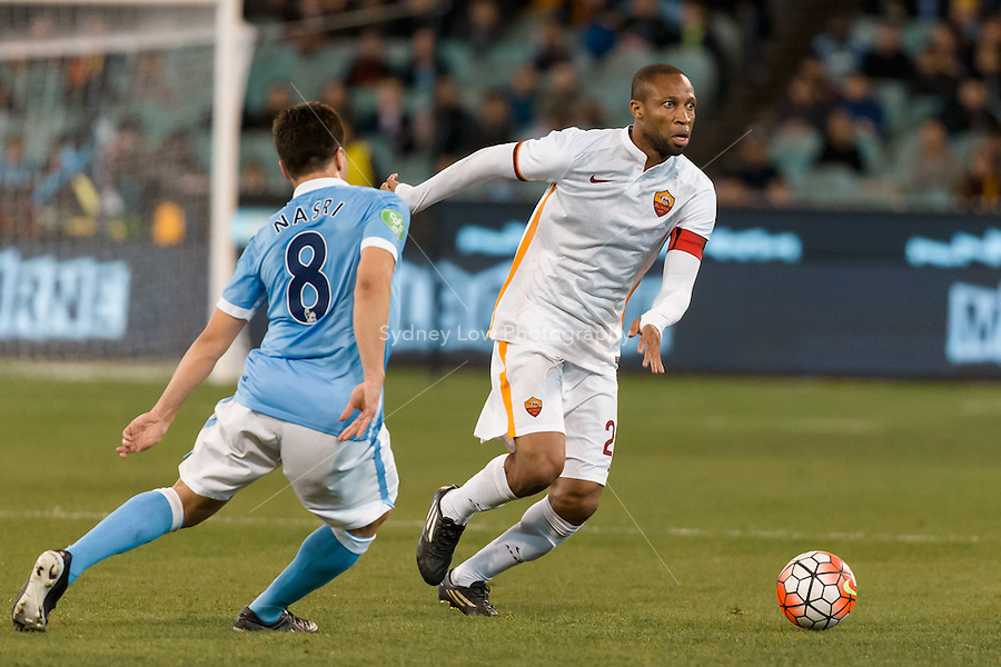 Melbourne, 21 July 2015 - Seydou Keita of AS Roma runs with the ball in game two of the International Champions Cup match at the Melbourne Cricket Ground, Australia. City def Roma 5-4 in Penalties. (Photo Sydney Low / AsteriskImages.com)