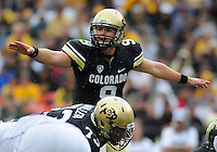 SEPTEMBER 17, 2011:  Colorado Buffaloes quarterback Tyler Hansen (9)    during an inter-conference game between the Colorado State Rams and the University of Colorado Buffaloes at Sports Authority Field at Mile High Field in Denver, Colorado. The Buffaloes led 14-7 at halftime*****For editorial use only*****