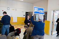 Shenna Bellows, Democratic candidate in Maine for US Senate, greets former State House member Elizabeth Watson after speaking to the Portland Democratic City Committee town caucus in the East End School cafeteria in Portland, Maine, USA, on March 3, 2014. Bellows is trying to unseat incumbent Maine Republican Senator Susan Collins in the 2014 election. The town caucus had speeches from various other local candidates and also served to choose delegates for the 2014 Maine State Democratic Caucus.