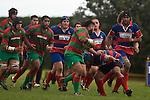 Maka Tatafu tries to fend of the Gary Saifoloi  tackle. Counties Manukau Premier rugby game between Waiuku & Ardmore Marist played at Waiuku on Saturday May 10th 2008..Ardmore Marist won 27 - 6 after leading 10 - 6 at halftime.