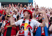 A New York Red Bulls fan cheers on his team during a Major League Soccer game at PPL Park in Chester, PA.  Philadelphia defeated New York, 3-0.