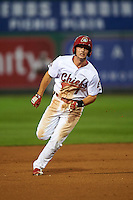 Peoria Chiefs third baseman Paul DeJong (7) running the bases during a game against the Wisconsin Timber Rattlers on August 21, 2015 at Dozer Park in Peoria, Illinois.  Wisconsin defeated Peoria 2-1.  (Mike Janes/Four Seam Images)