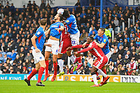 Ellis Harrison of Portsmouth (22) wins a header during Portsmouth vs Gillingham, Sky Bet EFL League 1 Football at Fratton Park on 12th October 2019