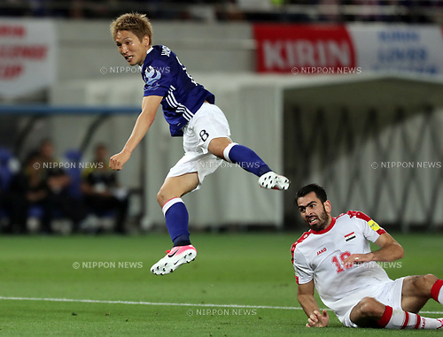 June 7, 2017, Tokyo, Japan - Japan's Genki Haraguchi (L) shoots the ball against Syria during a friendly match between Japan and Syria Kirin Challenge Cup in Tokyo on Wednesday, June 7, 2017. Japan and Syria drew the game 1-1.  (Photo by Yoshio Tsunoda/AFLO) LwX -ytd-