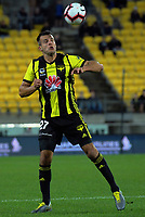Steven Taylor heads the ball during the A-League football match between Wellington Phoenix and Melbourne City FC at Westpac Stadium in Wellington, New Zealand on Sunday, 21 April 2019. Photo: Dave Lintott / lintottphoto.co.nz