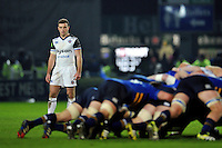 George Ford of Bath Rugby watches a scrum. European Rugby Champions Cup match, between Leinster Rugby and Bath Rugby on January 16, 2016 at the RDS Arena in Dublin, Republic of Ireland. Photo by: Patrick Khachfe / Onside Images