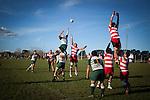 The Karaka players fail to disrupt the lineout throw to  Stephen Briscoe. Counties Manukau Premier Club Rugby game between Karaka and Manurewa, played at Karaka, on Saturday June 14 2014. Karaka won the game 63- 24 after leading 32 - 10 at halftime  Photo by Richard Spranger