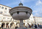 Close-up of fountain in famous city centre square, Giraldo Square, Praça do Giraldo, Evora, Alto Alentejo, Portugal, southern Europe