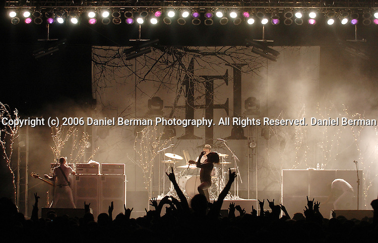 AFI frontman Davey Havok entertains the crowd at the Bumbershoot music festival in Seattle, WA September 3, 2006.