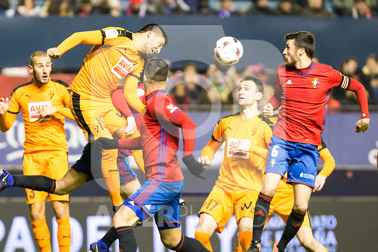 "Eibar's Alejandro Galvez, Club Atletico Osasuna's Oier Sanjurjo  during the match of ""Copa del Rey"" between CA Osasuna and Eibar at El Sadar Stadium in Pamplona. January 03 2017. (ALTERPHOTOS/Rodrigo Jimenez)"