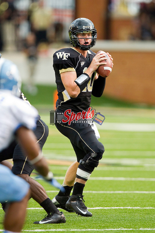 Tanner Price (10) of the Wake Forest Demon Deacons looks for an open receiver during second quarter action against the North Carolina Tar Heels at BB&T Field on September 8, 2012 in Winston-Salem, North Carolina.  The Demon Deacons defeated the Tar Heels 28-27.  (Brian Westerholt/Sports On Film)