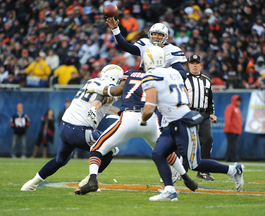 PHILIP RIVERS, of the San Diego Chargers, in action during the Chargers game against the Chicago Bears on November 20, 2011 at Soldier Field in Chicago, IL. The Bears beat the Chargers 31-20.