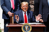 United States President Donald J. Trump declines to answer questions form journalists before signing H.R. 7010 - PPP Flexibility Act of 2020 in the Rose Garden of the White House in Washington, DC on June 5, 2020.<br /> Credit: Yuri Gripas / Pool via CNP/AdMedia