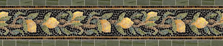 "8 3/8"" Lemon Bough border, a hand-cut stone mosaic, shown in polished  Emperador Dark, Nero Marquina, Crema Valencia, Persian Gold, Spring Green , Chartreuse, Travertine Noce, Joanna, and Dijon Gold."