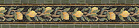 "8 3/8"" Lemon Bough border, a hand-cut stone mosaic, shown in polished  Emperador Dark, Nero Marquina, Crema Valencia, Persian Gold, Spring Green , Chartreuse, Travertine Noce, Joanna, and Dijon Gold."