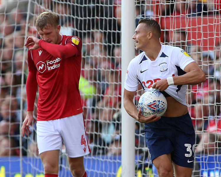 Preston North End's Billy Bodin celebrates scoring the opening goal <br /> <br /> Photographer David Shipman/CameraSport<br /> <br /> The EFL Sky Bet Championship - Nottingham Forest v Preston North End - Saturday 31st August 2019 - The City Ground - Nottingham<br /> <br /> World Copyright © 2019 CameraSport. All rights reserved. 43 Linden Ave. Countesthorpe. Leicester. England. LE8 5PG - Tel: +44 (0) 116 277 4147 - admin@camerasport.com - www.camerasport.com