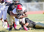 Palos Verdes, CA 10/27/17 - Noah Hollins (Morningside #2), Zackary Denney (Peninsula #53) and Sebastian Huizar (Peninsula #32)in action during the Morningside Monarchs - Palos Verdes Peninsula Varsity football game at Peninsula High School.