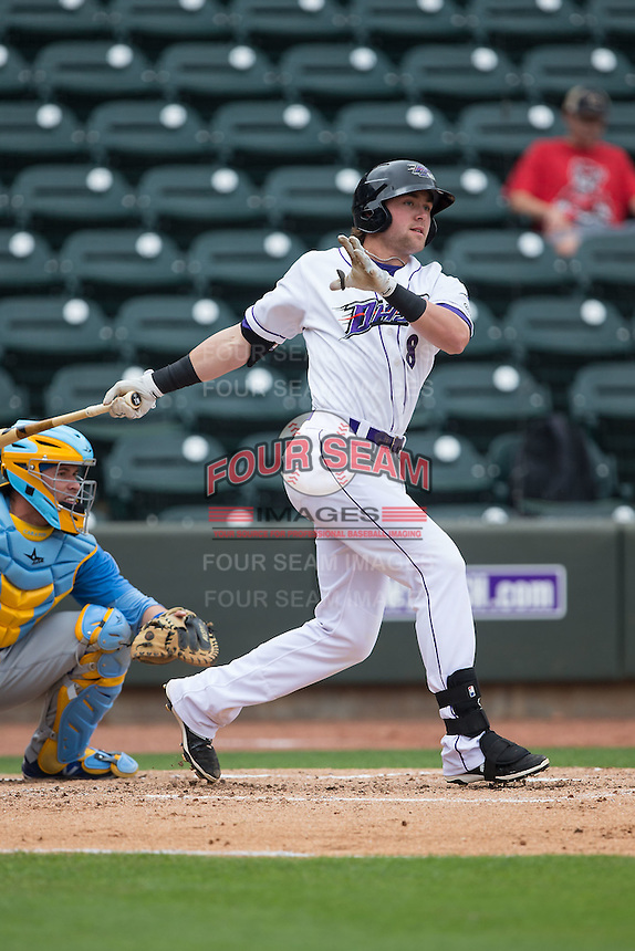 Trey Michalczewski (8) of the Winston-Salem Dash follows through on his swing against the Myrtle Beach Pelicans at BB&T Ballpark on May 10, 2015 in Winston-Salem, North Carolina.  The Pelicans defeated the Dash 4-3.  (Brian Westerholt/Four Seam Images)