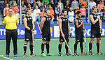 The Hague, Netherlands, June 03: Team of New Zealand line up prior to the match during the national anthem during the field hockey group match (Men - Group B) between South Africa and the Black Sticks of New Zealand on June 3, 2014 during the World Cup 2014 at GreenFields Stadium in The Hague, Netherlands. Final score 0:5 (0:3) (Photo by Dirk Markgraf / www.265-images.com) *** Local caption *** Dean Couzins #8 of New Zealand, Phil Burrows #18 of New Zealand, Kane Russell #21 of New Zealand, Arun Panchia #24 of New Zealand, Andy Hayward #5 of New Zealand