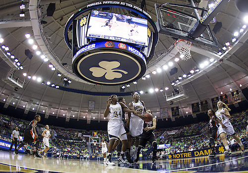 November 20, 2012:  A general view as Notre Dame guard Jewell Loyd (32) goes up for a shot during NCAA Women's Basketball game action between the Notre Dame Fighting Irish and the Mercer Bears at Purcell Pavilion at the Joyce Center in South Bend, Indiana.  Notre Dame defeated Mercer 93-36.