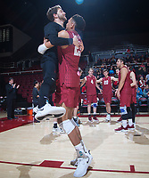 STANFORD, CA - March 2, 2019: Jaylen Jasper, Kyle Dagostino at Maples Pavilion. The Stanford Cardinal defeated BYU 25-20, 25-20, 22-25, 25-21.