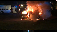 Pictured: Video of a Peugeot 206 car fire at Long Row, New Tredegar which investigators believe was set on fire, following the death of David Gaut, to dispose of any incriminating evidence.<br /> Re: A man who stabbed a convicted child killer to death in New Tredegar, has been found guilty of his murder by a jury at Newport Crown Court.<br /> David Gaut suffered 176 knife wounds in the vicious assault by Ieuan Harley in Caerphilly County, south Wales in August 2018.<br /> The victim had been lured to a neighbour's flat, after the past conviction for killing a baby came to light.<br /> Another man, David Osborne, was cleared of murder and manslaughter.<br /> A third man, Darran Evesham, was found guilty of perverting the course of justice.<br /> Harley, 23, had pleaded not guilty to murder and perverting the course of justice and David Osborne, 51, pleaded not guilty to murder but had admitted perverting the course of justice.