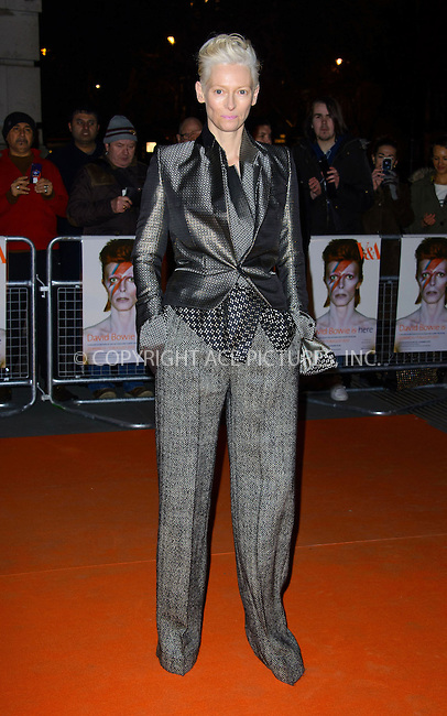 WWW.ACEPIXS.COM....US Sales Only....March 20 2013, London....Tilda Swinton at the 'David Bowie Is' gala night held at the Victoria and Albert Museum (V&A) on March 20 2013 in London....By Line: Famous/ACE Pictures......ACE Pictures, Inc...tel: 646 769 0430..Email: info@acepixs.com..www.acepixs.com